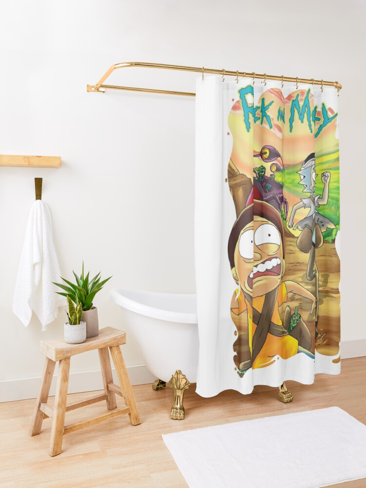 Alternate view of Escape From The Pursuit Robot in 35-C Dimension Shower Curtain