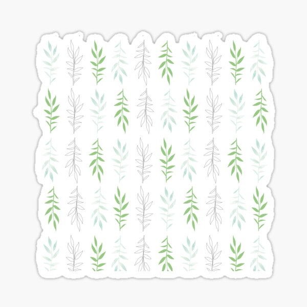 Green leaves, pattern inspired by nature Sticker