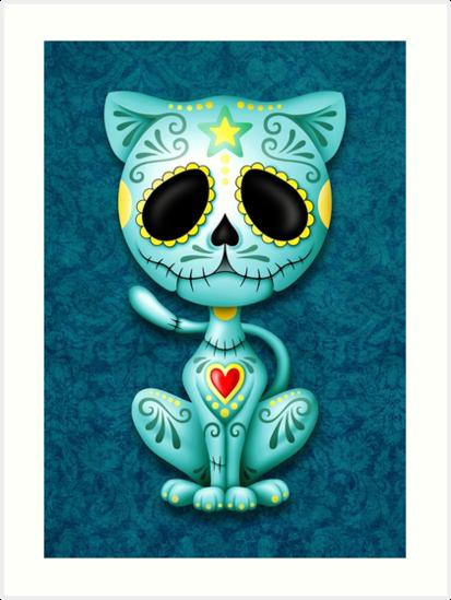 Blue Zombie Sugar Kitten Cat by jeff bartels