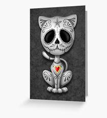 Dark Zombie Sugar Kitten Cat Greeting Card