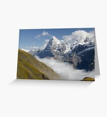 Verdant meadows below the Eiger in Switzerland Greeting Card