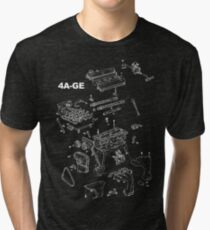 4A-GE Engine Diagram (Dark Colors) Tri-blend T-Shirt