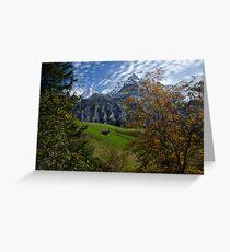 Swiss Fall Meadow below Eiger Greeting Card