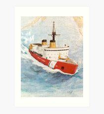 USCG Icebreaker POLAR STAR Nautical Map Cathy Peek Art Print