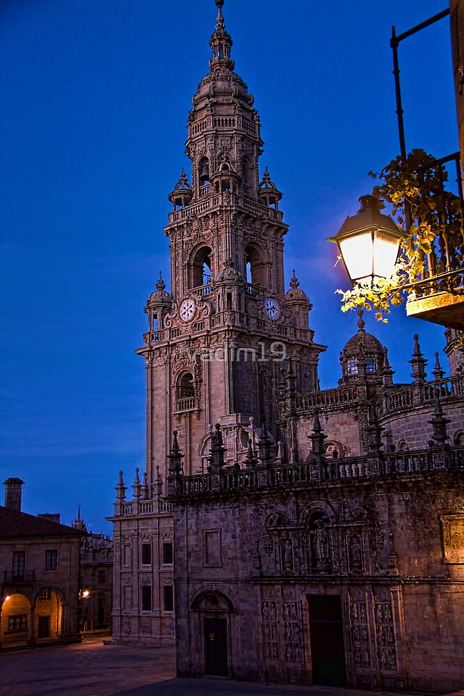 Spain. Santiago de Compostela. Cathedral. Bell Tower at night. by vadim19