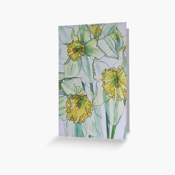 Daffodils watercolour painting Greeting Card