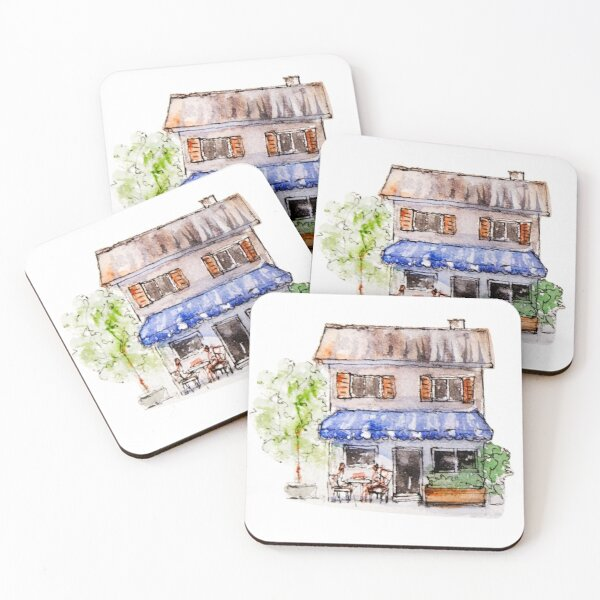 Little Watercolor House Sticker - Watercolor Clipart Coasters (Set of 4)