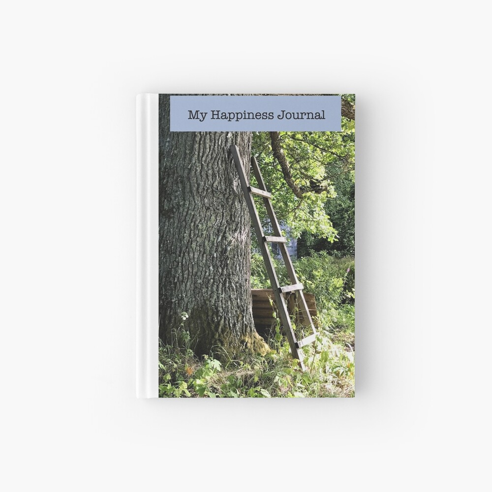 Happiness Journal Ladder Against an Old Oak Tree Hardcover Journal