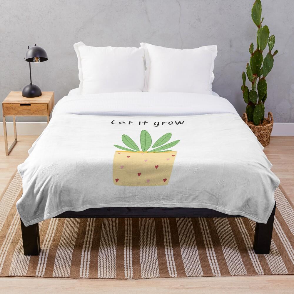 Let it grow, botanical illustration Throw Blanket