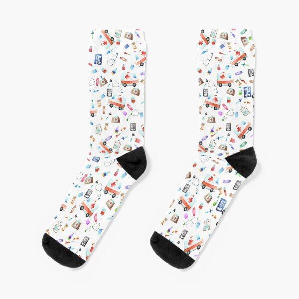 Cute Watercolor Ambulance Nurse Doctor Pattern Socks