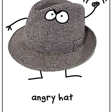 An angry hat on a black shirt by firstdog