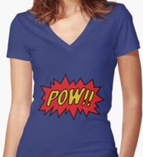 pow Women's Fitted V-Neck T-Shirt