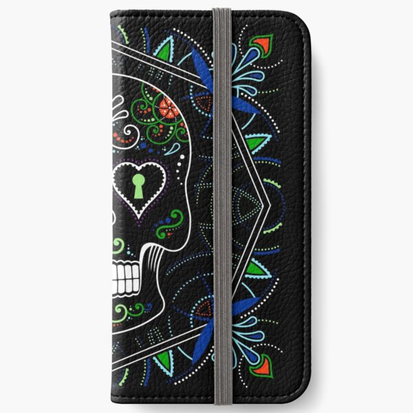 Mexican Calavera Skull Mandala - Day of the Dead iPhone Wallet