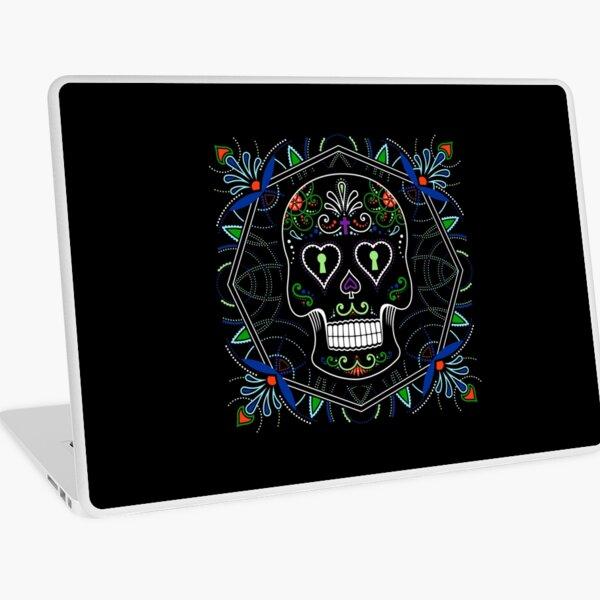 Mexican Calavera Skull Mandala - Day of the Dead Laptop Skin