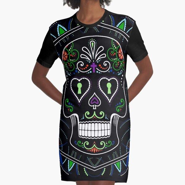 Mexican Calavera Skull Mandala - Day of the Dead Graphic T-Shirt Dress