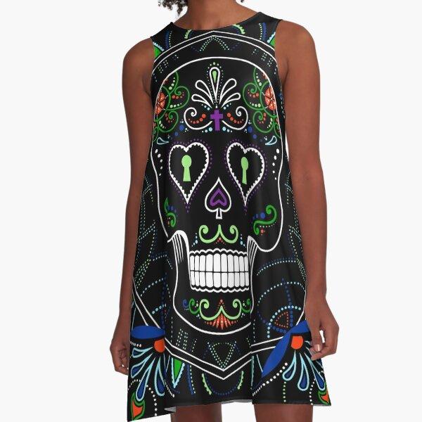 Mexican Calavera Skull Mandala - Day of the Dead A-Line Dress