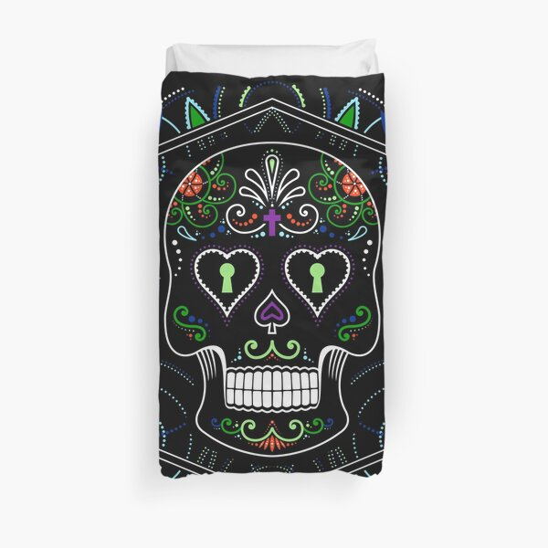 Mexican Calavera Skull Mandala - Day of the Dead Duvet Cover