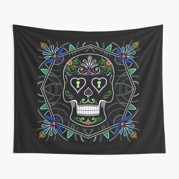 Mexican Calavera Skull Mandala - Day of the Dead Tapestry