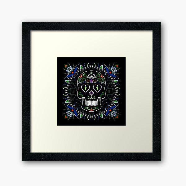 Mexican Calavera Skull Mandala - Day of the Dead Framed Art Print