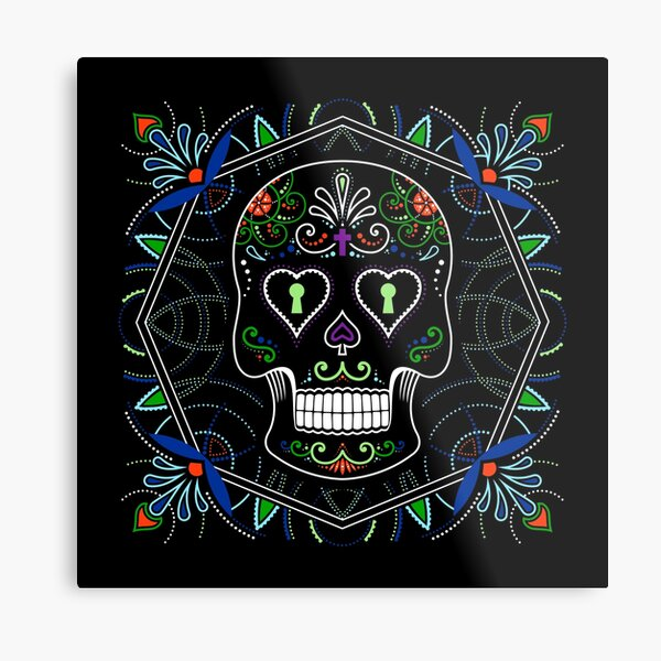 Mexican Calavera Skull Mandala - Day of the Dead Metal Print