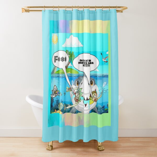 rick and morty getting eaten by a shark tshirt,  rick and morty funny tshirt, rick and morty tshirt, oh geez rick ,rick and morty art Shower Curtain