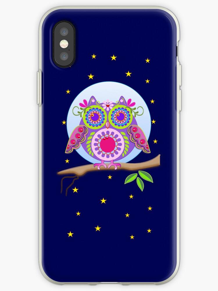 Full Moon Flower power Owl case by walstraasart