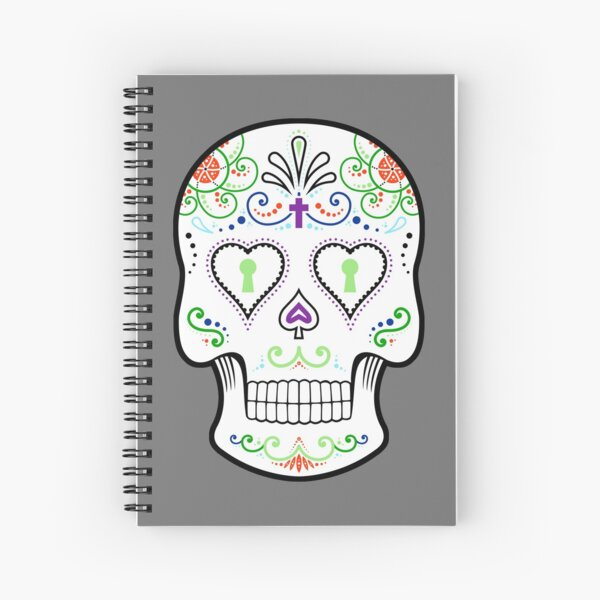 Mexican Calavera Skull White - Day of the Dead Spiral Notebook