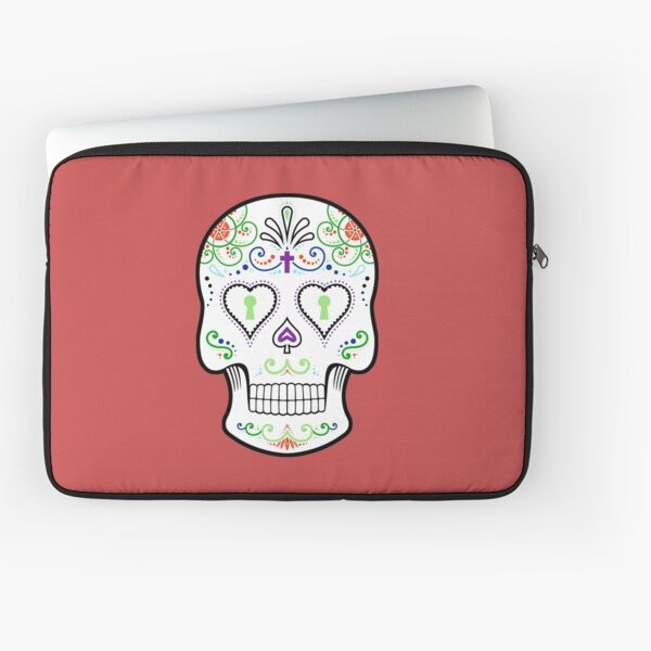 Mexican Calavera Skull White - Day of the Dead Laptop Sleeve