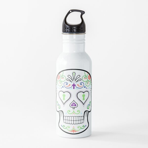 Mexican Calavera Skull White - Day of the Dead Water Bottle