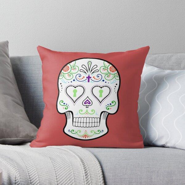 Mexican Calavera Skull White - Day of the Dead Throw Pillow