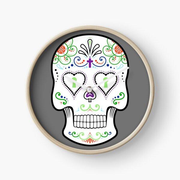 Mexican Calavera Skull White - Day of the Dead Clock