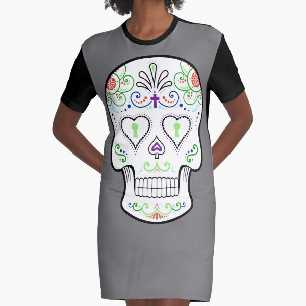 Mexican Calavera Skull White - Day of the Dead Graphic T-Shirt Dress