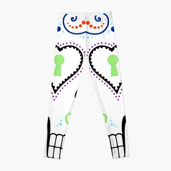 Mexican Calavera Skull White - Day of the Dead Leggings