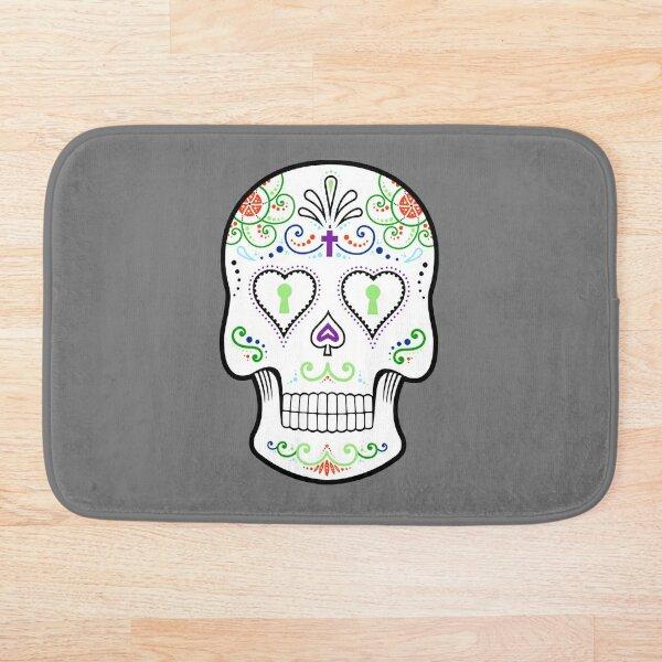 Mexican Calavera Skull White - Day of the Dead Bath Mat