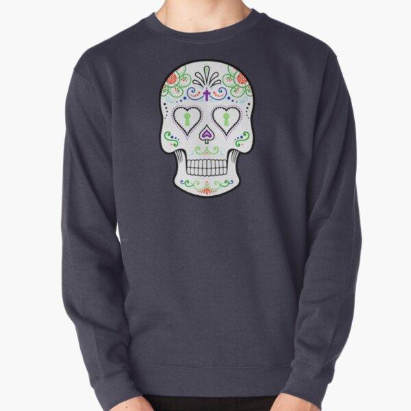 Mexican Calavera Skull White - Day of the Dead Pullover Sweatshirt