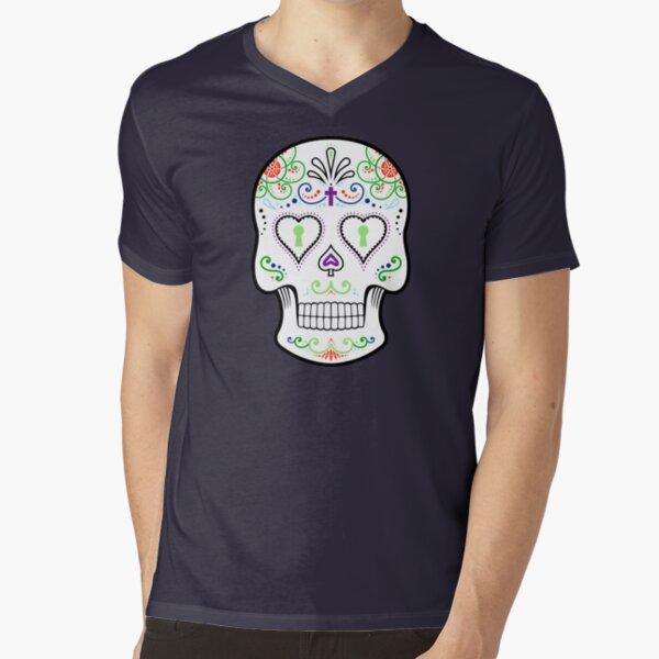 Mexican Calavera Skull White - Day of the Dead V-Neck T-Shirt