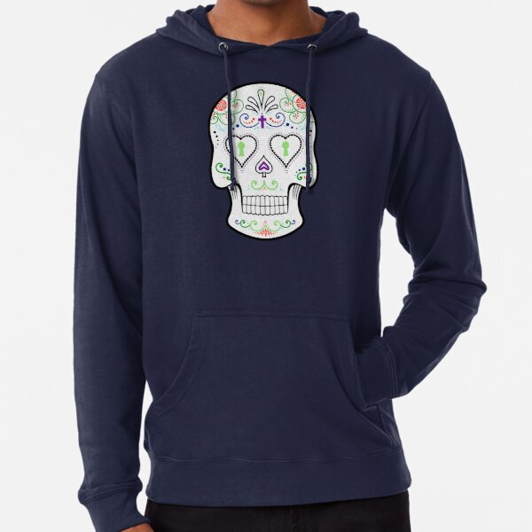 Mexican Calavera Skull White - Day of the Dead Lightweight Hoodie