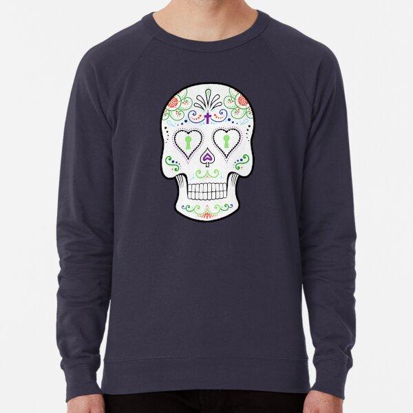 Mexican Calavera Skull White - Day of the Dead Lightweight Sweatshirt