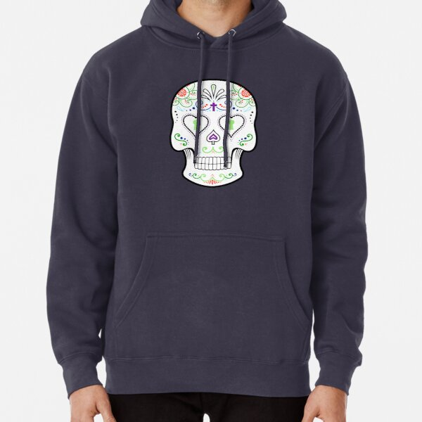 Mexican Calavera Skull White - Day of the Dead Pullover Hoodie