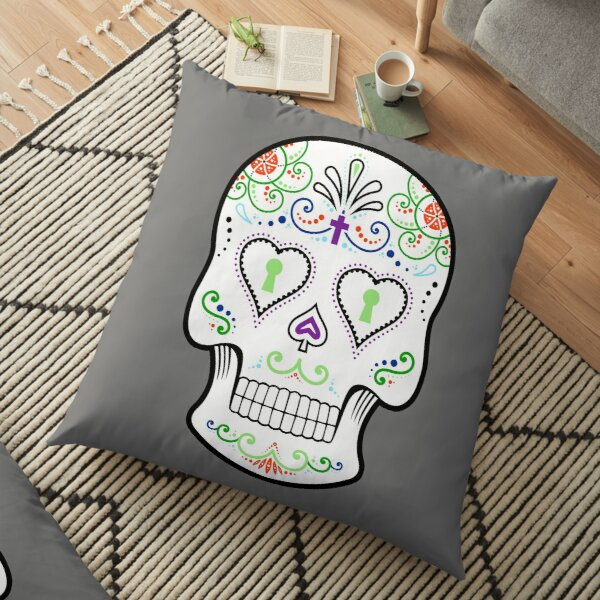 Mexican Calavera Skull White - Day of the Dead Floor Pillow