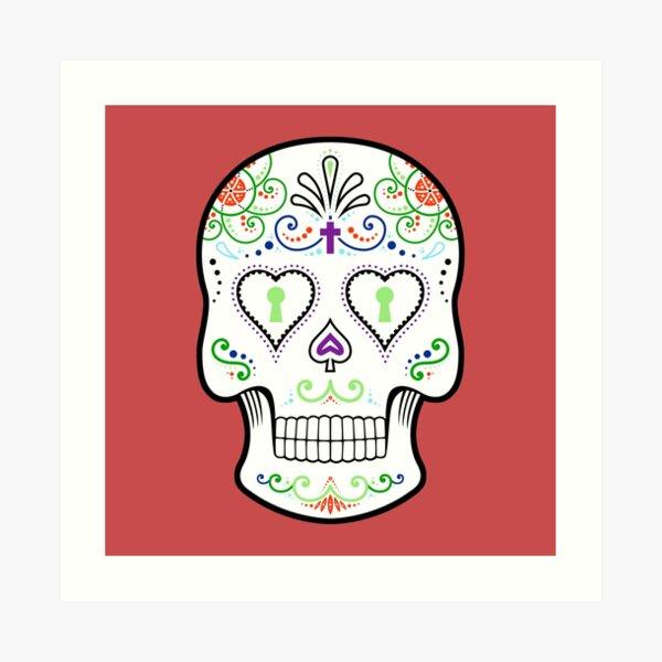 Mexican Calavera Skull White - Day of the Dead Art Print