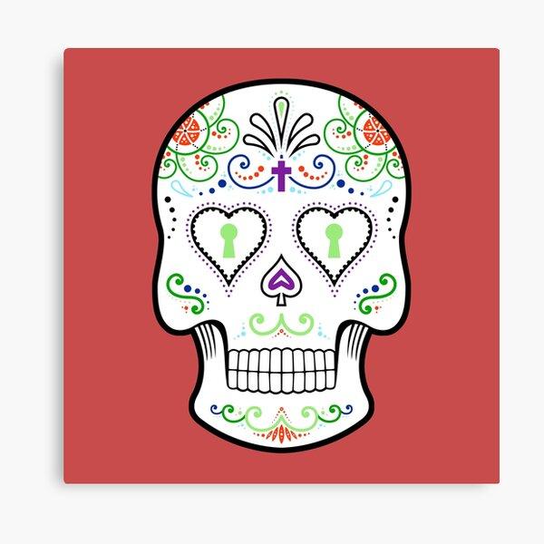 Mexican Calavera Skull White - Day of the Dead Canvas Print