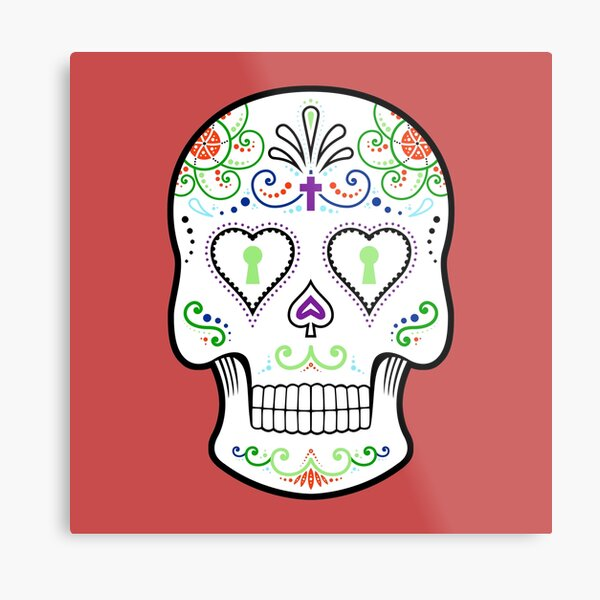 Mexican Calavera Skull White - Day of the Dead Metal Print