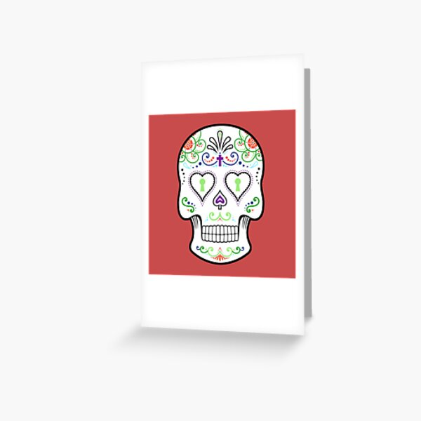 Mexican Calavera Skull White - Day of the Dead Greeting Card