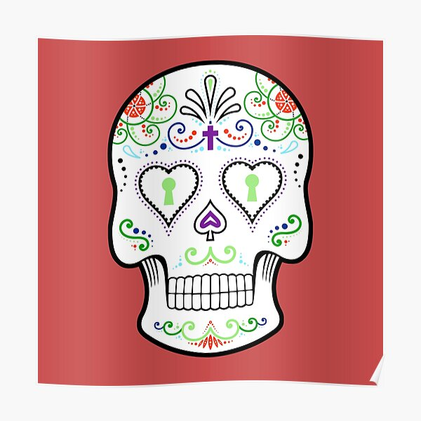 Mexican Calavera Skull White - Day of the Dead Poster