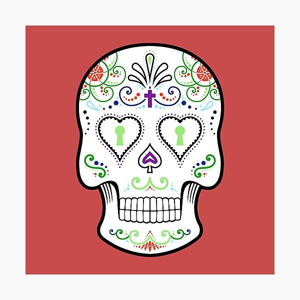 Mexican Calavera Skull White - Day of the Dead Photographic Print