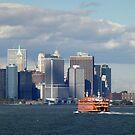 Staten Island Ferry and New York Skyline by Nancy de Flon