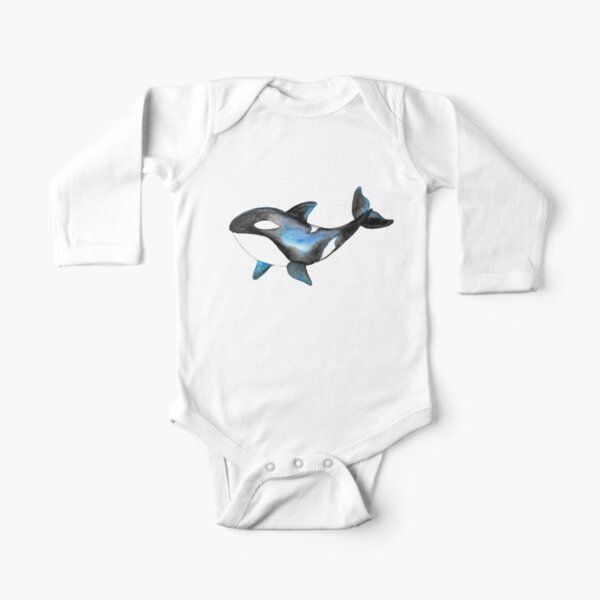 Whale Orcas Tatra Cottage Long Sleeve Baby One-Piece