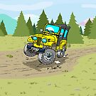 Yellow CJ5 jeep at the woods by RFlores