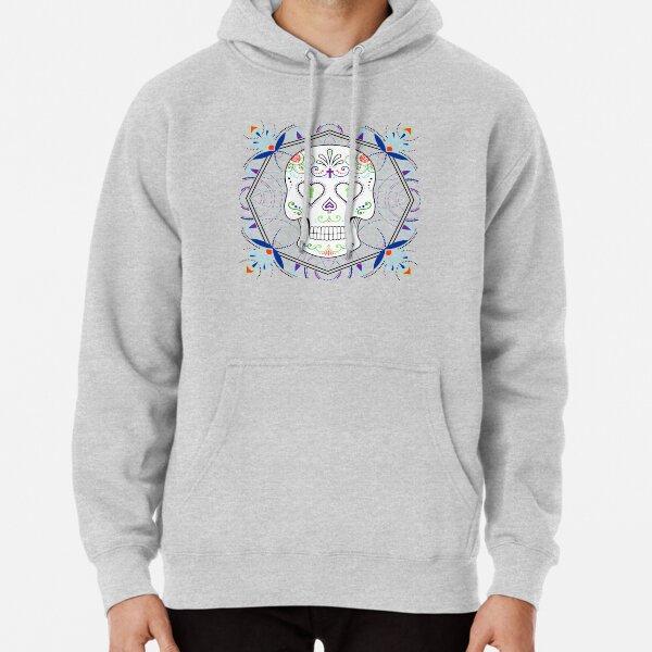 Mexican Calavera Skull Mandala White Background  Pullover Hoodie